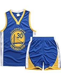 Sokaly Garçon Fille Basket Maillots Curry#30 Jorden#23 Harden#13 Boston#11 Basketball Jersey T-Shirt et Short Sportwear Ensemble pour Enfant Teenager (Taille 100-180cm)