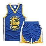 Sokaly Garçon Fille NBA Chicago Bulls Jorden#23 Golden State Curry Basket-Ball Maillots T-Shirt et Shorts Sportwear Ensemble pour Enfant Sports (L(Teenager, Bleu)...