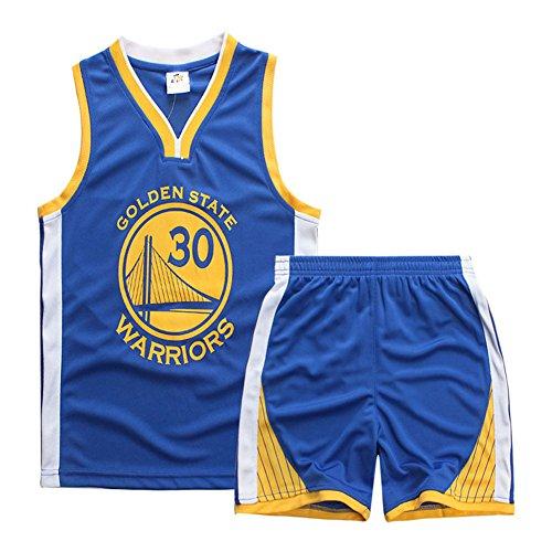 Sokaly Garçon Fille NBA Jorden#23 Chicago Bulls#23 Golden Satate Basket-Ball Perfomance Sport Ensemble Maillot de débardeur et de Shorts pour Enfant Sport Uniforme (L(5-6 Ans), Bleu)