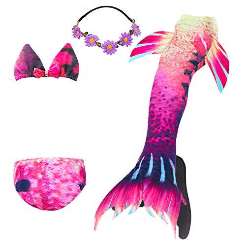 Meerjungfrau Kostüm Disney Prinzessin - COZY HUT Meerjungfrau Schwanz mit Meerjungfrau Badeanzug Schwanzflosse Zum Schwimmen Kostüm Für Kinder Mädchen Bikini Set und Monoflosse, 5 Stück Set