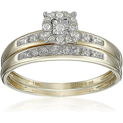 0.08carat (quilates) 10K oro amarillo redondo blanco diamante Hombres y Mujeres Cluster Anillo de compromiso Trio novia Set