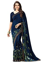 Calendar Women's Navy Blue Color Georgette Saree With Blouse Piece