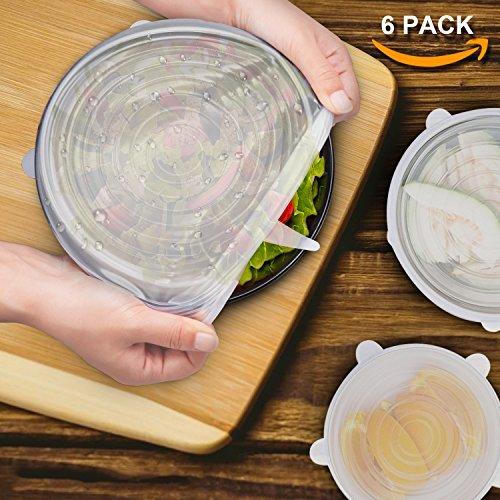 Dehnbare Silikondeckel,SIX-QU 6-Pack in verschiedenen Größen Silikon-Stretch-Deckel für Schüssel, Dose, Glas, Glaswaren, Food Saver Covers Sicher in der Spülmaschine, Mikrowelle und Gefrierschrank