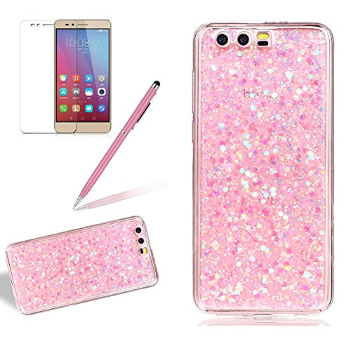 Price comparison product image Glitter Case for Huawei Honor 9,Girlyard Crystal Luxury Bling Shinning Design Soft TPU Ultra-thin Flexible Rubber Anti-slip Scratch Resistant Protective for Huawei Honor 9 -Pink