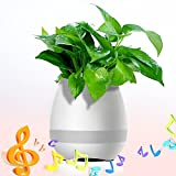 Techvibe Flower pot altoparlante bluetooth, colorato LED con sensore touch piano Theme Pearl White