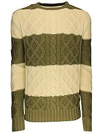 SoulStar - Pull pour hommes à rayures tricot ras-du-cou deux tons bleu marine / blanc cassé
