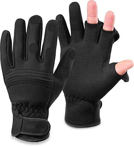 normani Wasser- und Winddichte Angel Handschuhe Winterhandschuhe Fishingsports Anglerhandschuhe 2,5 mm Titanium-Neopren Farbe Schwarz/Schwarz Größe M