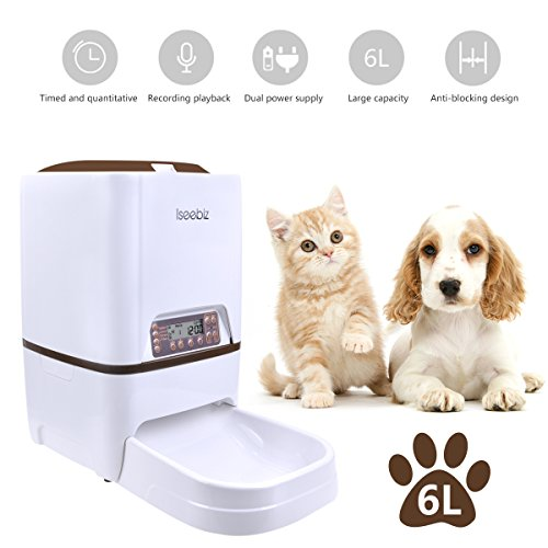 Alimentatore Automatico per Cani e Gatti 6L Iseebiz Distributori Automatici di Cibo per Animali Domestici con Promemoria vocale e Programmatore di Schermo LCD, 4 pasti al Giorno
