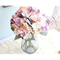 Meiliy Artificial Silk Hydrangea Flowers 3 Pcs Artificial Flowers Fake Flowers Home Wedding Hotel Party Décor Pink Purple