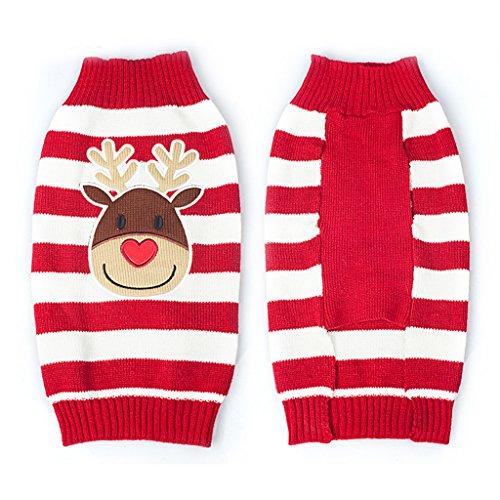 Weihnachten Rentier Rot Weiss Gestreiften Pullover Warme Kleidung Fuer Hunde M - 2
