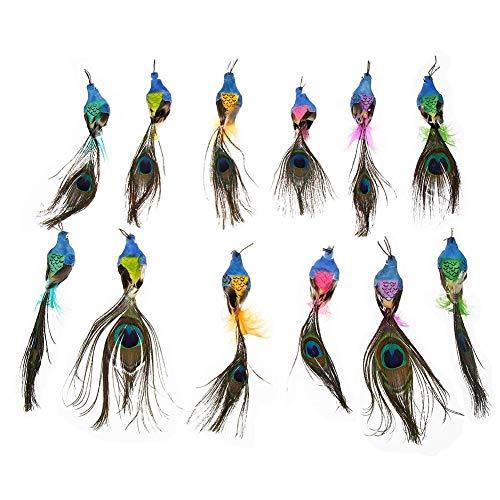 Demiawaking 12pcs Uccelli Decorativi Uccellini Finti con Piume di Pavone Uccelli Artificiali Colorati Uccelli di Simulazione Ornamento di Artigianato Decorazioni per Giardino Matrimonio Feste