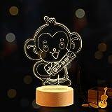 Y-Hui Regalo de San Valentín Plug-KT Tanabata lámparas LED Cat 3D niñas corazón Poco Luces nocturnas fantástico Regalo romántico, el pequeño Mono