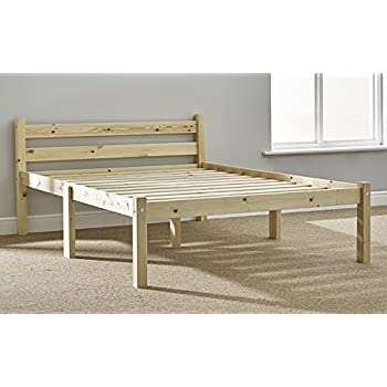 double pine bed 4ft small double pine bed frame heavy duty extra wide solid base slats - Pine Bed Frame