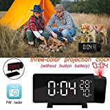 Projection Clock - Three-Color LED Temperature and Humidity Display FM Radio with Alarm Clock - 7.3-Inch Large LED Dimmable Screen with USB Charging Port with Snooze Feature,Timer and Dual Alarms
