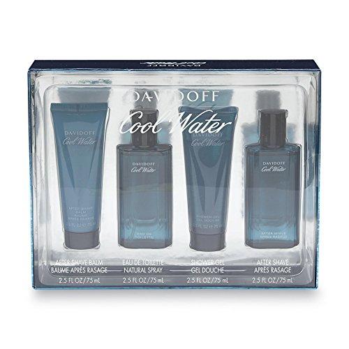 Davidoff Cool Water Geschenkset 75ml EDT Spray + 75ml Aftershave Balm + 75ml Duschgel + 75ml Aftersh