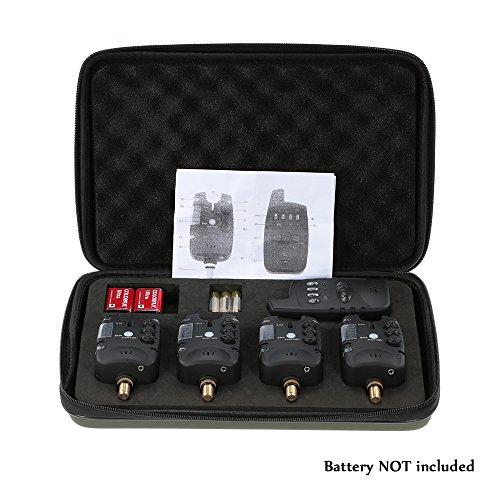 Lixada Wireless Angeln Alarm Set 4 Angeln Bissanzeiger + 1 Empfänger LED Karpfenangeln Alarm