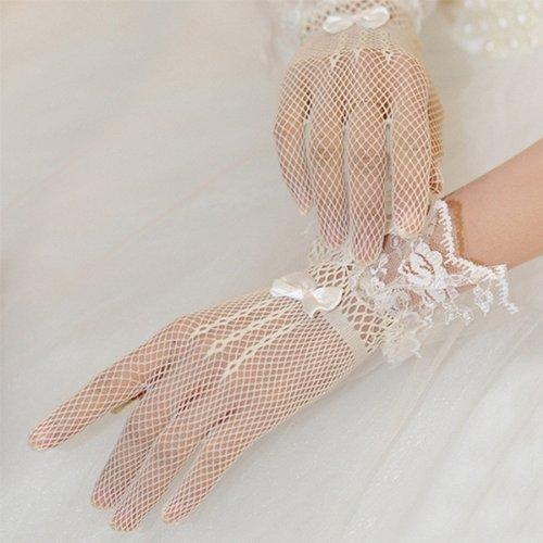 Donne Guanti - TOOGOO(R) Donne avorio dita da sposa in pizzo da cocktail nuziale promenade di sera brevi guanti