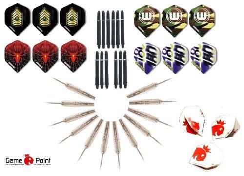 12 Stück lose Steeldart - Spitzenqualität aus dem Hause GamePoint + 1 Satz GamePoint Flys