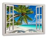 Pixxprint Palmenstrand, Fenster Leinwandbild |Größe: 120x80 cm | Wandbild | Kunstdruck