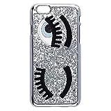 Phone Kandy® concepteur paillettes style oeil applique flirter iPhone cas dur paillettes couverture shell (iPhone 6 PLUS, Argenté)
