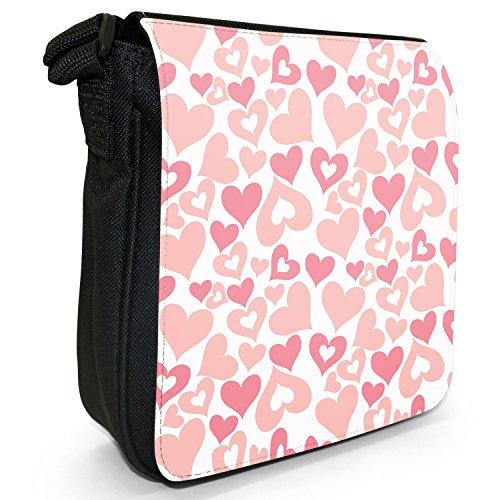 Sterne Herzen Quadrate Kreise Babypink Kleine Schultertasche aus schwarzem Canvas Hübsches Chaos Herz Pink