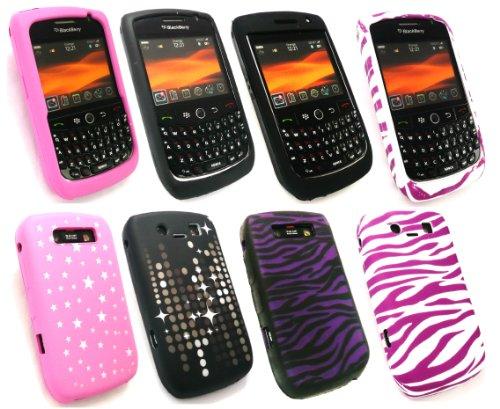 Emartbuy ® Blackberry 8900 Curve Bundle Pack 4 Silicon Skin Cover / Case - Pink Stars, Lila Zebra, Rosa Zebra & Twilight Stars Curve 8900 Zebra