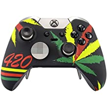 eXtremeRate® Funda Carcasa frontal Cubierta Shell superior Antideslizante para mando inalambrico Xbox One Elite ( marihuana colores )