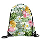 Etryrt Zaino con Coulisse,Borse Sacca,Sacchetto Pineapple Flowers Drawstring Backpack Rucksack Shoulder Bags Training Gym Sack for Man And Women