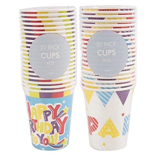 Princesse, Monster ou Joyeux anniversaire pour enfant Assiettes en papier/bols/ayant fête d'anniversaire/, 20x Happy Birthday Cup 9oz, 20