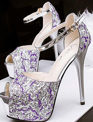 WSS 2016 Chaussures Femme-Décontracté-Noir / Violet / Argent-Talon Aiguille-Talons-Talons-Synthétique purple-us6 / eu36 / uk4 / cn36