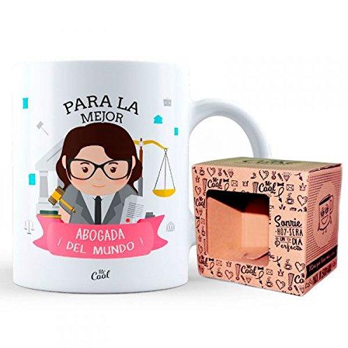 Mr Cool Taza 33 Cl en Caja Regalo con Mensajepara la Mejor Abogada ¡del Mundo, Cerámica, Multicolor, 15x10x5 cm