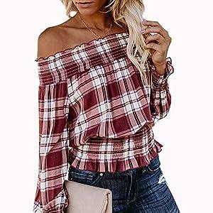TPulling Damen Plaid Top, Frauen Herbst Winter Schulterfrei Prüft Langarm EIN Schulter Oberseiten Kapuzen Pullover Lässige Sweatshirt Strickjacke Bluse Shirt