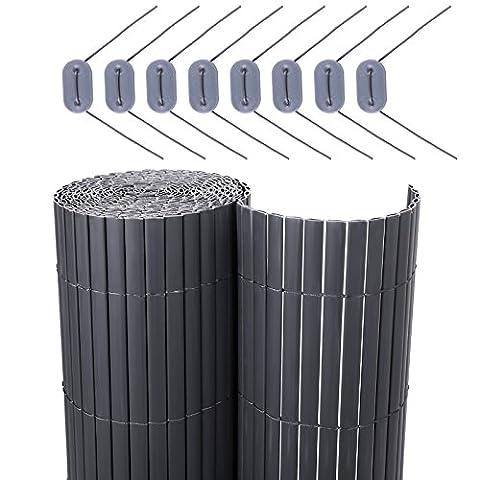 Canisse Bambou 3x1 5m - Songmics Canisse PVC pour jardin balcon terrasse