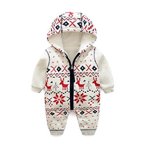 Bebone Baby Weihnachtspullover Jungen Strampler Mädchen Overall (18-24 Monate/90cm, Dick Gefüttert)