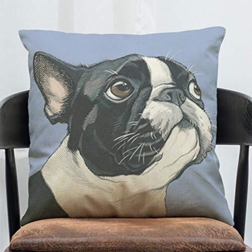 Dante's office Cojines Impresos,Algodón Confort Decoración Creativa Dibujos Animados Bulldog francés Sofá...