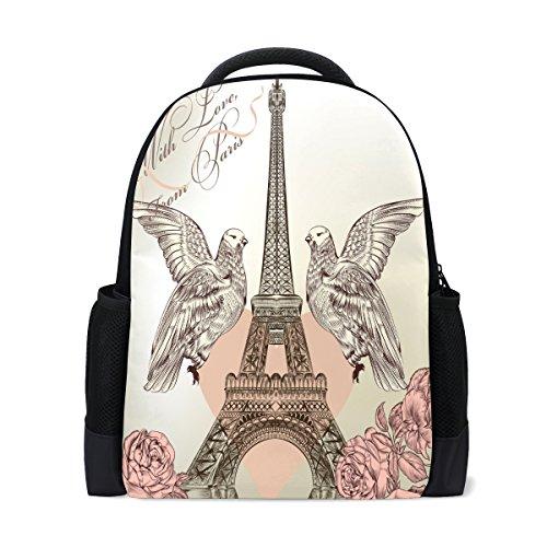 LIANCHENYI Rucksack Eiffelturm mit Tauben Custom Casual Rucksack Schultasche Reiserucksack -