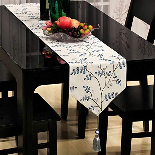 Haiying runner romantico san valentino runner blu/petali ricamati tovaglietta per la cucina da pranzo (colore : a, dimensioni : 33 * 160cm)