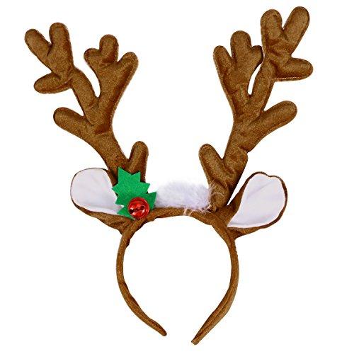 Rentier Kostüm - TOYMYTOY Rentier Geweih Stirnband Haarband Kopfschmuck Rentier Plüschtier für Weihnachten Kostüm Party