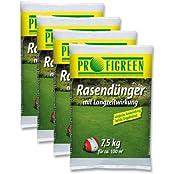 Profigreen RD-12658, 30 kg Rasendünger mit Langzeitwirkung (4 x 7,5 kg-Vorteilspack) mineralisch oganisch