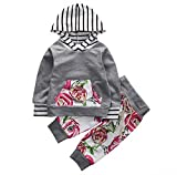 Baby Girls Long Sleeve Striped Hoodie Top and Rose Flowers Pants Outfit Set (70(0-6M), Grey)