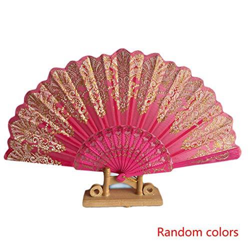 ELENXS Zufällige Farbe im chinesischen Stil Folding Fanen Jahrgang Falten Hand Blumen-Druck-Fan-Tanz-Party-Taschen-Geschenke