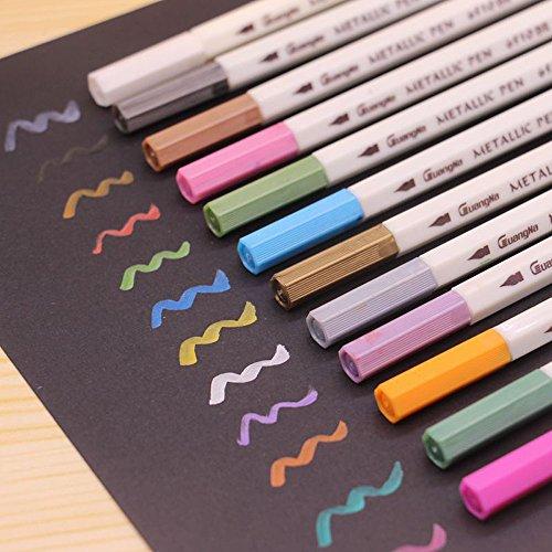 Metallic Stifte Marker Pens Farben Pinselstift, Satz von 12 Farben Metallic Marker Pens für Kartenherstellung / DIY Fotoalbum / Gebrauch auf irgendeiner Oberfläche-Papier / Glas / Kunststoff / Keramik - 4