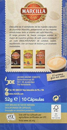 MARCILLA Café Espresso Descafeinado Intensidad 6 - 10 Cápsulas de aluminio compatibles con cafeteras Nespresso*