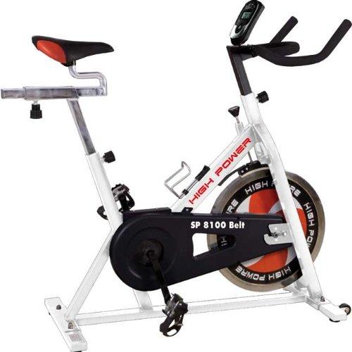 HIGH POWER SP 8100 spin-bike con volano da 20 Kg e pignone a scatto fisso, per indoor cycling ed allenamento home-fitness, portata 120 Kg