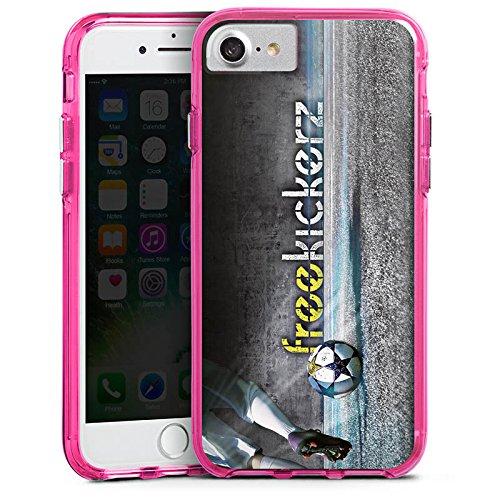 Apple iPhone X Silikon Hülle Case Schutzhülle Freekickerz Fanartikel Merchandise Fußball Bumper Case transparent pink