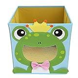 NEWSTYLE Foldable Kids' Toy Storage Bin Box - Cartoon Children Toys Chest and Closet Organizer - Smiling Frog