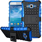 Nnopbeclik 2in1 Dual Layer Coque Samsung Galaxy Grand Prime Silicone [Neuf] [Armor Séries] Protectrice Fine Et Élégante Rigide Back Cover Incassable case pour Samsung Galaxy Grand Prime Coque 3D [SM-G530FZ] (5.0 Pouce) Protection Hybride en Mélange avec Béquille de Support Intégrée Housse Antiglisse Anti-Scratch Etui - [Bleu]