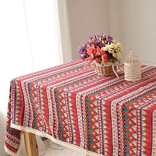 Maritown Rote Boho Floral Quaste Tischdecke Baumwolle Leinen rustikal Extra große Home Küche Dining Party Bankett Tabletop dekorative Tisch Decken Picknick-Matte