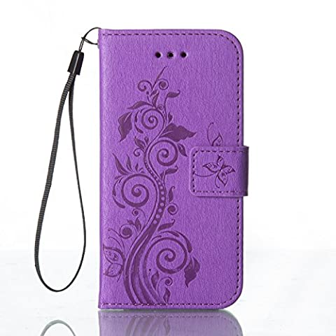 Huawei P8 Lite Case, Cozy hut Huawei P8 Lite Flip case, Luxury Embossed Butterfly Series Design Pattern Premium Ultra Slim PU Leather Wallet Cover [Purple] Magnetic Clasp Closure Soft TPU Inner Bumper Built-in Foldable Stand Function Pocket Card Slots ID Holder Protective Case Folio Book Style With Wrist Strap for Huawei P8 Lite -