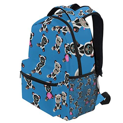 In Panda Kostüm Schöne Kätzchen Rosa Herz Tier Rucksäcke Bookbags Daypack Travel School College Tasche für Frauen Mädchen Herren Jungen Teens ()
